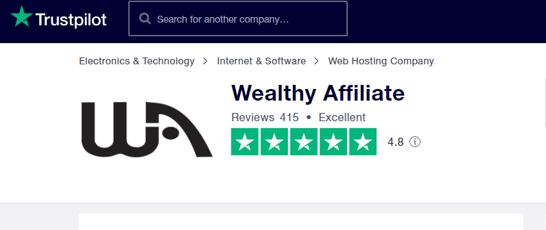 Wealthy Affiliate has 4.8 Trustpilot rating score