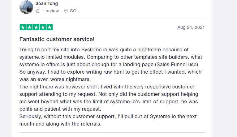 Systeme.io customers testimonial